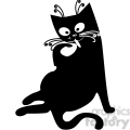 vector clip art illustration of black cat 091