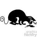 vector clip art illustration of black cat 070