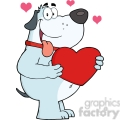 5241-Fat-Gray-Dog-Holding-Up-A-Red-Heart-Royalty-Free-RF-Clipart-Image