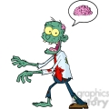 5082-Blue-Cartoon-Zombie-Walking-With-Hands-In-Front-And-Speech-Bubble-With-Brain-Royalty-Free-RF-Clipart-Image