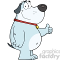 5225-Smiling-Gray-Fat-Dog-Showing-Thumbs-Up-Royalty-Free-RF-Clipart-Image