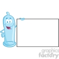 5163-Condom-Cartoon-Mascot-Character-Holding-A-Blank-Sign-Royalty-Free-RF-Clipart-Image