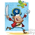 Illustration-Running-Pirate-Holding-Up-A-Sword-And-Hook-With-Parrot