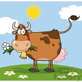 brown dairy cow with flower in mouth on a meadow gif, png, jpg, eps, svg, pdf