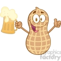 peanut cartoon mascot character holding a beer with a thumbs up gif, png, jpg, eps, svg, pdf