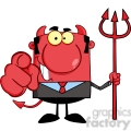 royalty free smiling devil boss with a trident and hand pointing finger