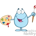 Clipart of Smiling Blue Easter Egg Painter With A Brush And Palette
