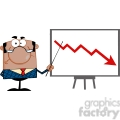 clipart of angry african american business manager with pointer presenting a falling arrow  gif, png, jpg, eps, svg, pdf