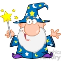 Royalty Free Funny Wizard Waving With Magic Wand