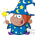 clipart of happy african american wizard girl waving with magic wand