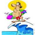 cartoon surfer standing on a wave