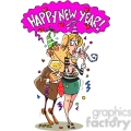 cartoon happy new year kiss