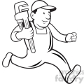 black and white plumber monkey wrench running 001  gif, png, jpg, eps, svg, pdf