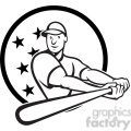 black and white baseball player batting side low CIRC