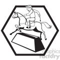 black and white jockey ridinghorse side