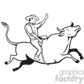 black and white rodeo cowboy bull riding side right  gif, png, jpg, eps, svg, pdf