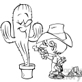 boy sticking up a cactus in black and white