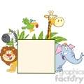 5636 Royalty Free Clip Art Safari Animals Behind A Blank Sign With Leafs