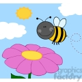 5600 Royalty Free Clip Art Smiling Bumble Bee Flying Over Flower