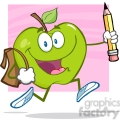 5804 royalty free clip art happy green apple character with school bag and pencil goes to school  gif, png, jpg, eps, svg, pdf