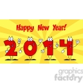 5666 Royalty Free Clip Art 2014 New Year Numbers Cartoon Characters1