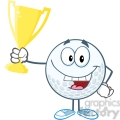 5737 Royalty Free Clip Art Happy Golf Ball Holding Golden Trophy Cup
