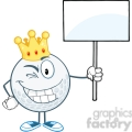 5726 Royalty Free Clip Art Winking Golf Ball With Gold Crown Holding A Blank Sign