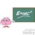 5818 Royalty Free Clip Art Smiling Brain Teacher Character With A Pointer In Front Of Chalkboard With Einstein Formula E mc2