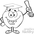 5949 Royalty Free Clip Art Happy Apple Character Graduate Holding A Diploma