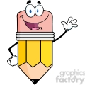 5871 Royalty Free Clip Art Happy Pencil Character Waving For Greeting