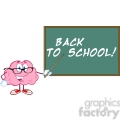 5816 Royalty Free Clip Art Smiling Brain Teacher Character With A Pointer In Front Of Chalkboard With Text