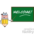 5883 Royalty Free Clip Art Smiling Pencil Teacher Character With A Pointer In Front Of Chalkboard