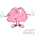 5822 Royalty Free Clip Art Winking Brain Character Giving A Thumb Up