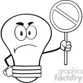 6132 Royalty Free Clip Art Angry Light Bulb Character Holding up A Forbidden Sign