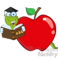 6243 Royalty Free Clip Art Happy Worm In Red Apple Reading A School Book