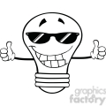 6158 Royalty Free Clip Art Smiling Light Bulb With Sunglasses Giving A Double Thumbs Up