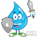 6212 Royalty Free Clip Art Water Drop Cartoon Mascot Guarder With Shield And Sword