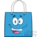 6721 Royalty Free Clip Art Happy Blue Shopping Bag Cartoon Mascot Character
