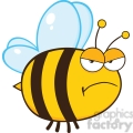 6547 Royalty Free Clip Art Angry Bee Cartoon Mascot Character