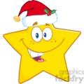 6718 Royalty Free Clip Art Smiling Star Cartoon Mascot Character With Santa Hat