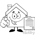 6461 Royalty Free Clip Art Black and White House Cartoon Mascot Character Pointing With Finger And Holding A Contract