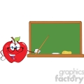 6511 Royalty Free Clip Art Smiling Apple Teacher Character With A Pointer In Front Of Chalkboard
