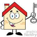 6484 royalty free clip art house cartoon character holding up a key  gif, png, jpg, eps, svg, pdf