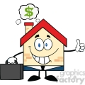 6450 Royalty Free Clip Art Smiling House Businessman Carrying A Briefcase,Giving A Thumb Up With Smoke Cloud And Dollar Sign