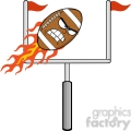 6567 royalty free clip art angry flaming american football ball cartoon character with goal  gif, png, jpg, eps, svg, pdf