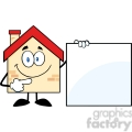 6464 royalty free clip art house cartoon mascot character showing a blank sign  gif, png, jpg, eps, svg, pdf