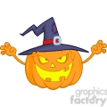 6610 Royalty Free Clip Art Scaring Halloween Pumpkin With A Witch Hat Cartoon Illustration