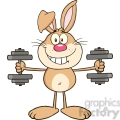 Royalty Free RF Clipart Illustration Smiling Brown Rabbit Cartoon Character Training With Dumbbells