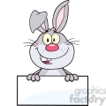 Royalty Free RF Clipart Illustration Cute Gray Rabbit Cartoon Mascot Character Over Blank Sign