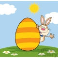 Cute Rabbit Cartoon Character Waving Behinde Easter Egg